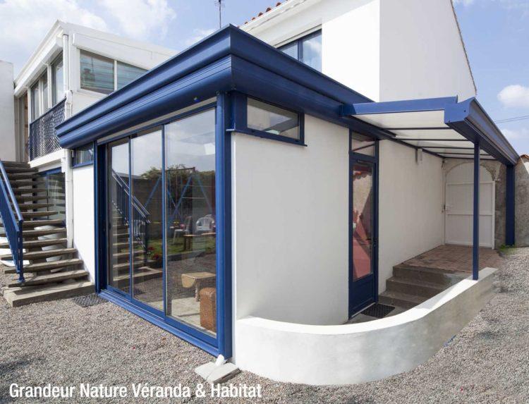 Véranda aluminium bleu Vendée